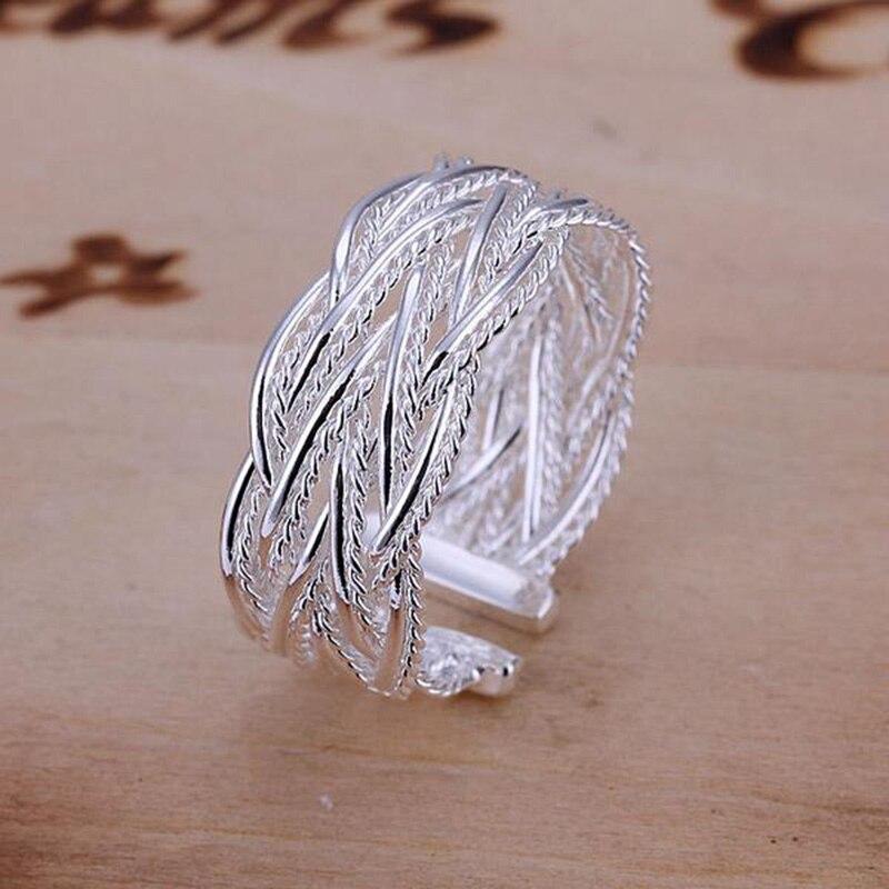 Fashion Crossed Net Web Weave Open Ring Women Men Gift Silver Color Jewelry Finger Rings