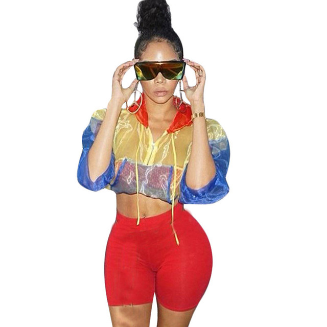 cef511f217 Casual Two Piece Short Set Hooded Tracksuit Women Sheer Mesh Crop Top +  Biker Shorts Set Sportwear Bodycon Matching Sets Outfits