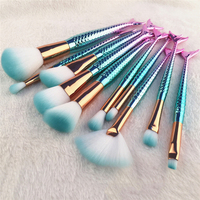 10Pcs Unique  Mermaid Makeup Brush Set Fish Tail Foundation Powder Eyeshadow Make up Brushes Contour Blending Cosmetic Brushes