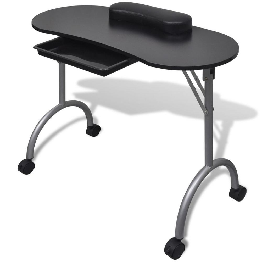 Manicure Nail Table Portable Station Desk Spa Beauty Salon Furniture Equipment Modern Folding Nail Salon Tables With Wheeled