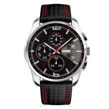 Quartz saat deri çok fonksiyonlu 3D kadran Chronograph takvim aydınlık el su geçirmez spor erkekler kol saati SKMEI erkek saat