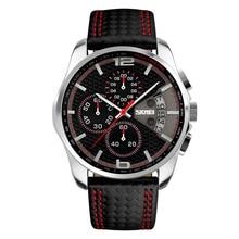 Часы наручные SKMEI Мужские кварцевые с кожаным ремешком, многофункциональные спортивные светящиеся водонепроницаемые с календарем и хронографом, с 3D циферблатом