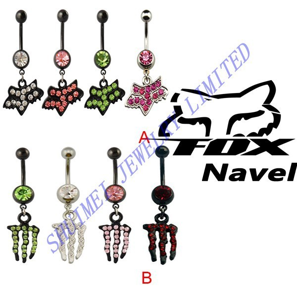 Us 11 69 Shuimei 8pcs Fancy Fox Monster Navel Belly Button Ring Sexy Dangle 14 Guage Piercing Body Jewelry New In Body Jewelry From Jewelry