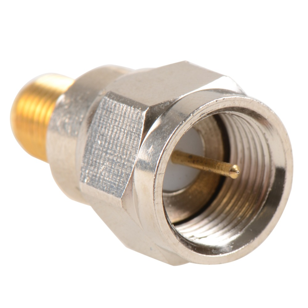 Adapter F TV Plug Male Nickel Plating To SMA Female Jack Gold Plating RF Connector Antenna Auto Radio VC718 P30 5 x rf antenna fm tv coaxial cable tv pal female to female adapter connector