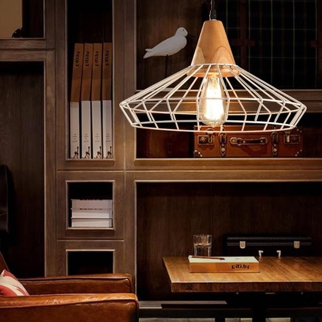 Retro Nordic Industrial Iron Cage Pendant Light  Country Art Loft Drop Wood pendant Lamp For Bar Cafe Warehouse lustre lighting