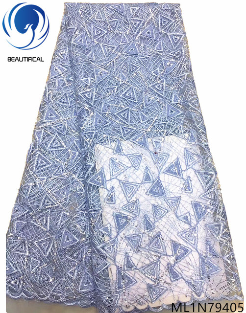 Beautifical nigerian lace fabric lot high quality blue lace fabric sequins luxury lace fabric 5 yards/piece for occasion ML1N794