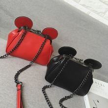 2016 Cute cartoon stylish black & red mini chain shoulder bag casual  ladies across body messenger bag pu leather purse flap