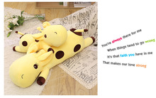 new plush cartoon spots giraffe toy stuffed yellow giraffe pillow doll gift about 90cm