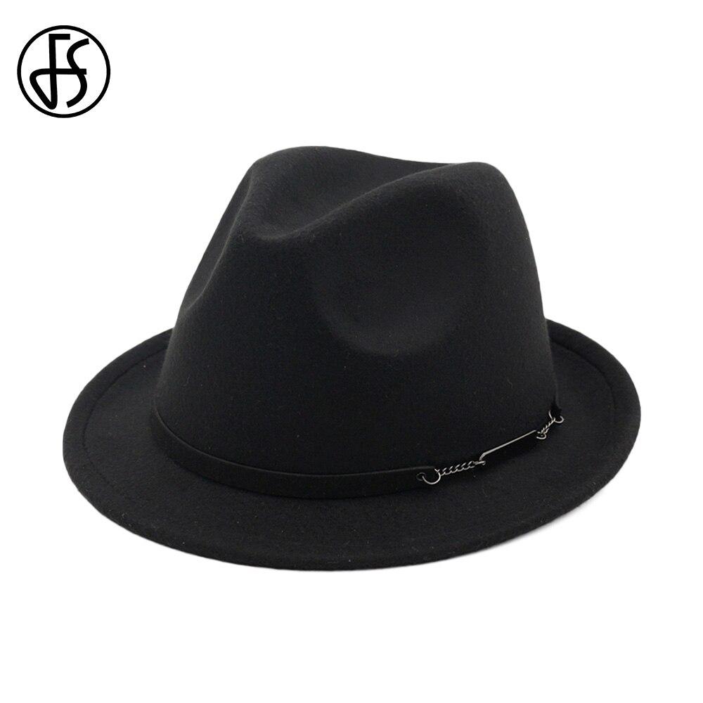 FS Autumn Black Red Cotton Trilby Felt Fedora Hat Men Vintage Wide Brim Winter Hats For Women Elegant Top Jazz Cap 2018