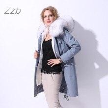 European Fashion Coats Female Jackets 100% Real Leather Raccoon Dog Fur Rex Rabbit Fur casacos winter parka long maxi Gray Color