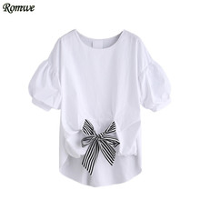 ROMWE Summer White Striped Tie Front Puff Sleeve Blouses Ladies Cute Tops Round Neck Short Sleeve High Low Blouse