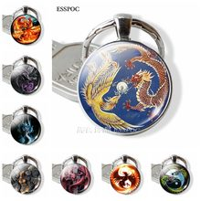 Phoenix Dragon Pendant Keychain Astrology Jewelry Glass Metal Key Chain Rings(China)