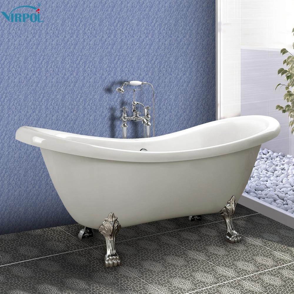 1600mm Freestanding slipper Bath Tub Double Ended Roll Top Slipper ...