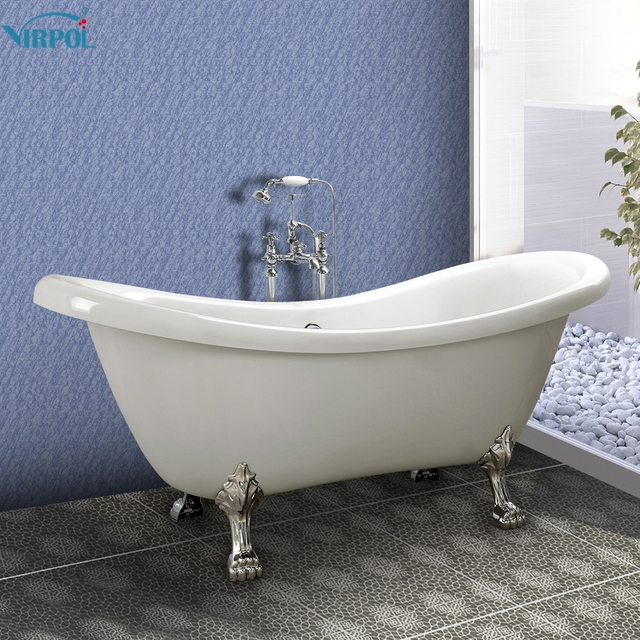 1600mm Freestanding Slipper Bath Tub Double Ended Roll Top Slipper Bathtub  White Luxury Cast Iron
