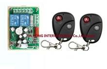 Free Shipping 220V 2CH RF Wireless Remote Control Switch learning code 1 recevier + 2 transmitter