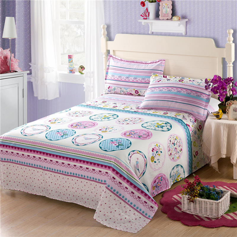 Lovely colours simple little pattern bedding 100% cotton 3Pcs bed sheet set + pillowcase super comfortable and soft bedding
