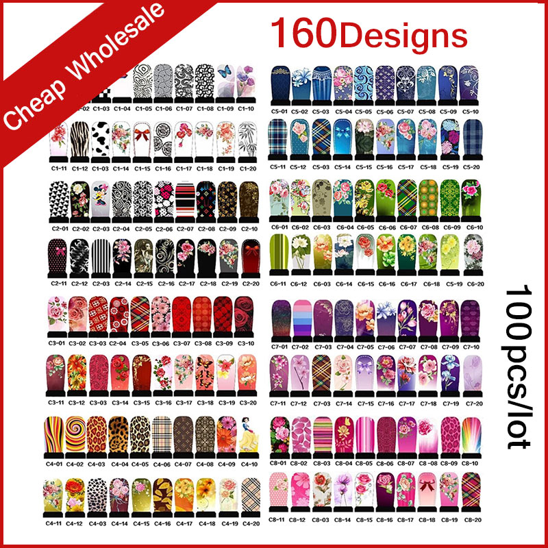 160Designs 100pcs/lot Hot Water Transfer Nail Art Stickers Full Cover Flowers Cartoon DIY Beauty Nail Decals Decoration 2016 2sheets manicure tips beauty purples oil printing 3d diy designs nail art water transfer stickers decals full cover xf1405