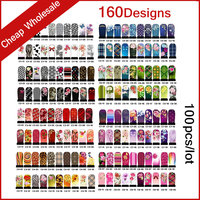 160Designs 100pcs/lot Hot Water Transfer Nail Art Stickers Full Cover Flowers Cartoon DIY Beauty Nail Decals Decoration