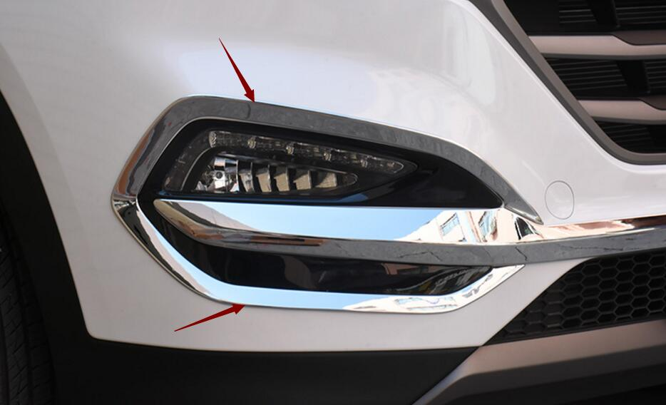 For Hyundai Tucson 2015 2016 2018 Front Head Fog Light Foglight Lamp Chrome Cover Trim Insert Accent Styling Garnish Molding