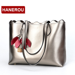 HANEROU Genuine Leather Women Handbags Large Capacity Shoulder Bag For Women Tassel Tote Bag Female Handbag Sac A Main Femme