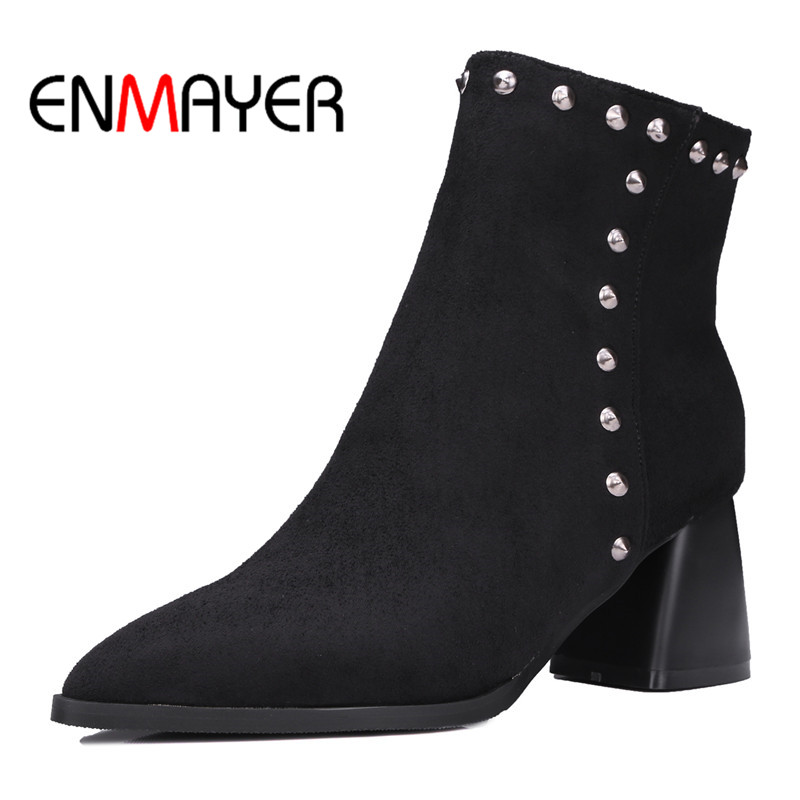 ENMAYER Autumn Women Boots High Heel Pointed Toe Shoes Hoof Heel Ankle Boots for Lady Folck Rivets Boots Black Red Large Size enmayer shoes woman high heels round toe boots shoe plus size 35 46 ankle boots for women platform shoes rivets charms black