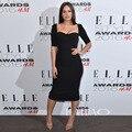 sexy sweetheart black tea-length Atlanta de Cadenet celebrity inspired dresses half sleeve customized robe de soiree longue 2017
