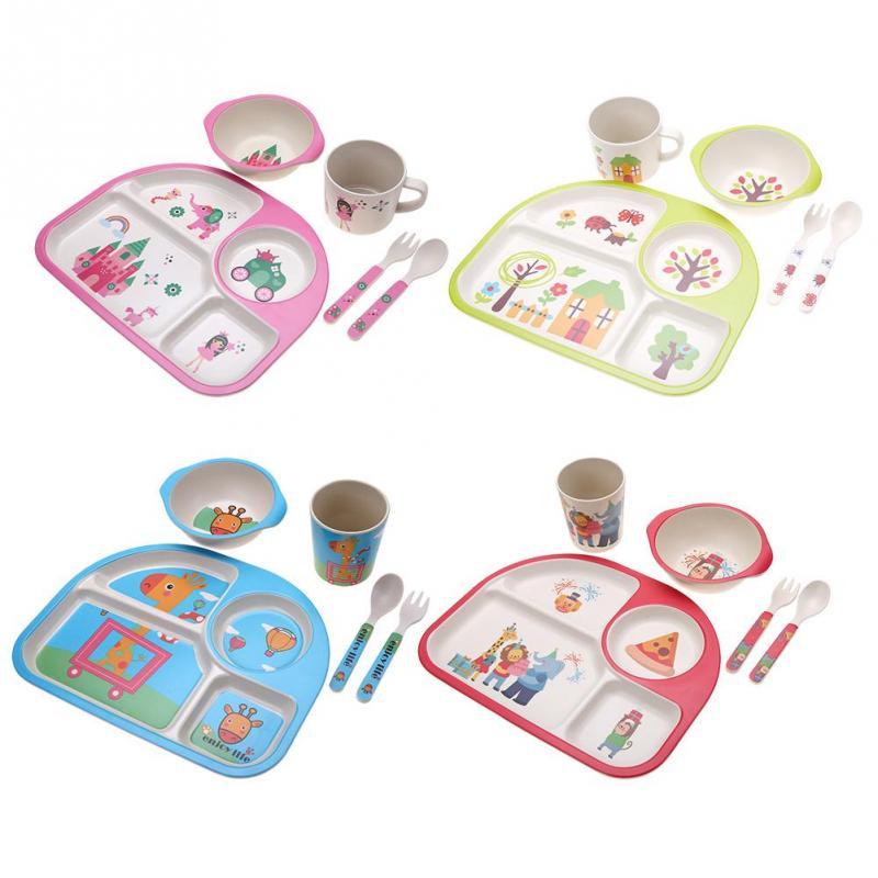 Wheat Straw Rabbit Shape Cartoon Dinner Plate Divided Dining Dish For Kids@1#JKL