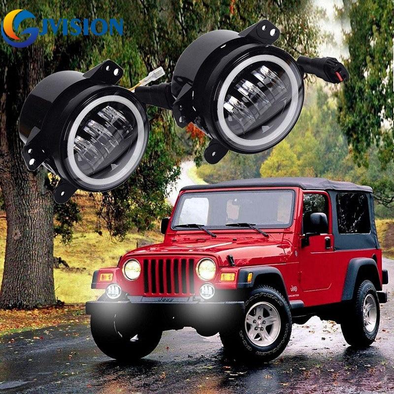 Pour Jeep Wrangler JK Dodge Chrysler PT Cruiser 30 W 4 pouces LED voiture antibrouillard lampe Halo anneau ange yeux DRL LED antibrouillard (noir)