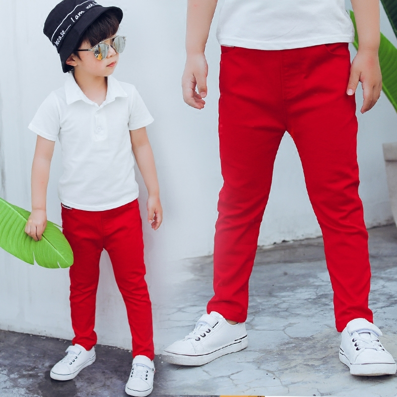 Children Boys Red Black Pants Toddler Stretch Trouser Cotton Spring Autumn 2019 Kids Legging Jeans For 2 3 4 5 6 7 8 9 10 Years