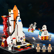 LEPINING City Spaceport Space Shuttle Building Block Sets Space Center Bricks Educational Classic Toys For Children