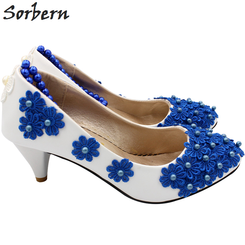 Sorbern Royal Blue Flowers Beading Straps White Wedding Shoes Kitten Heels Bridal Shoe Embellishment Shoes Pumps