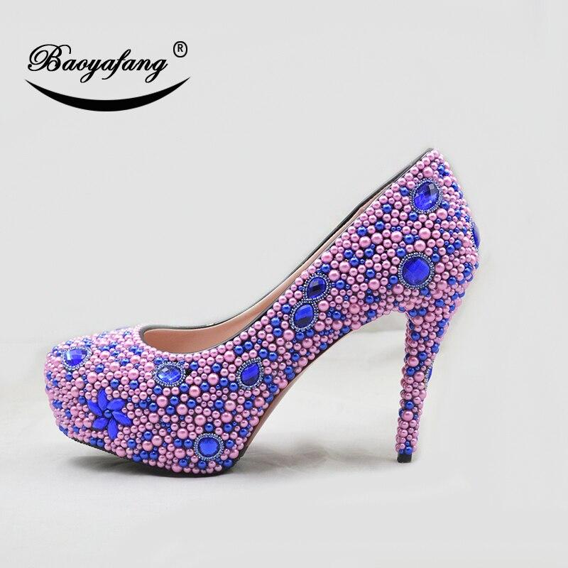 Partito Shoe 14cm Della Delle Peach Grandi Signore Dimensioni Donne Piattaforma Sposa Shoe Shoe Donna Scarpe Del Da 8cm Perla Royal Lusso Nuove Di 11cm Abito Baoyafang Alta Blu OPaFwq4x8