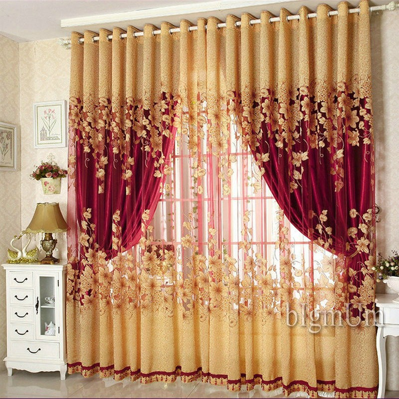 On sale ! Curtains Luxury Beaded For Living Room Tulle +Blackout Curtain Window Treatment/drape In Golden/Pink Freeshipping New