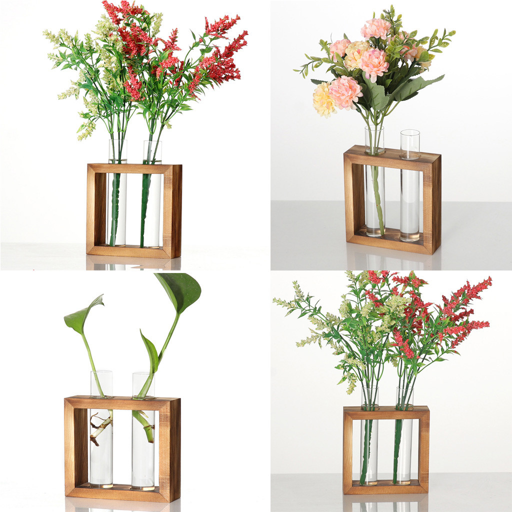 Creative Hydroponic Plant Transparent Vase Wooden Frame Coffee Shop Room Decor Cardboard Box Home Decor Decorative Shelves Aliexpress