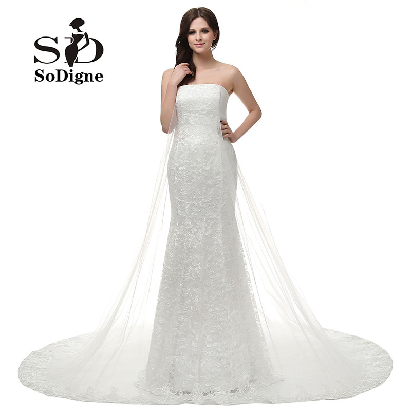Evening Dress 2016 SoDigne Mermaid Strapless Lace Off the Shoulder Vestido De Festa Longo Tulle White Long Prom Party Dress
