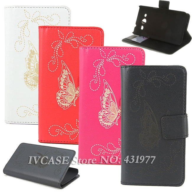 Wallet Butterfly Fashion Multi Colors Leather Flip Case Cover Samsung Galaxy Core 2 II G355h SM-G355H + - IVCASE store