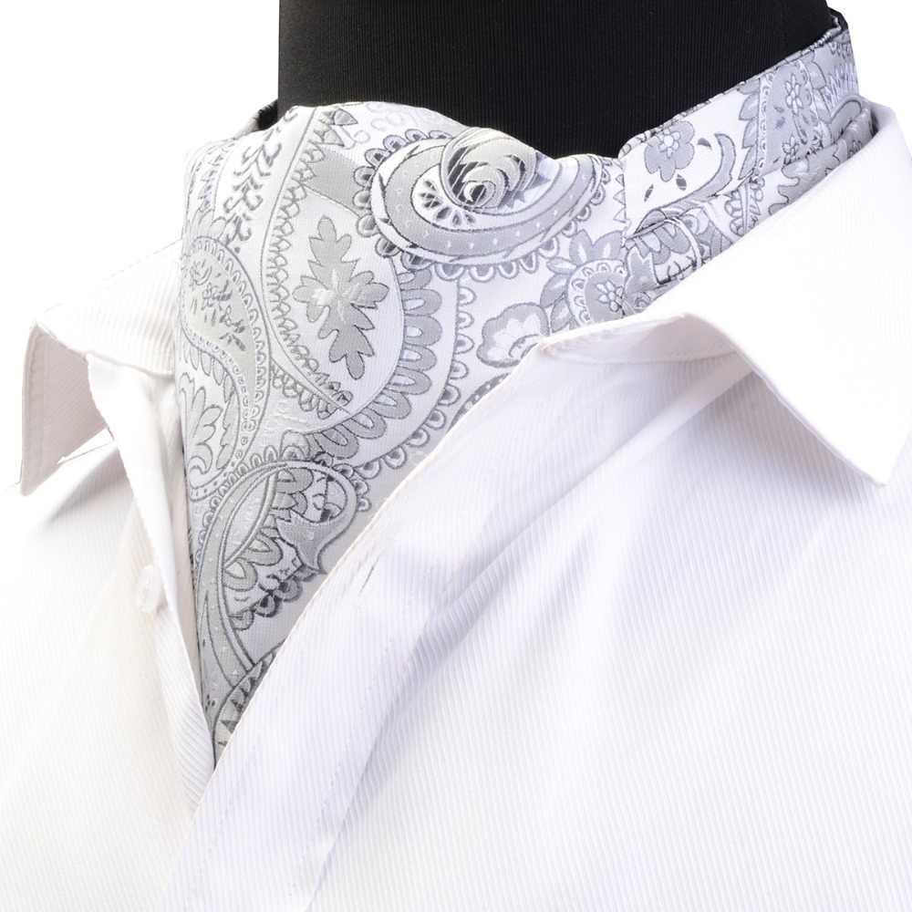 Ricnais kaliteli erkek Ascot Vintage Paisley çiçek kravat jakarlı dokuma İpek kravat erkekler öz kravat ezme İngiliz eşarp