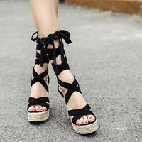2018 Summer Women Sandals Sexy Cross Ankle Strap Black Comfortable Wedges High Thick Heel Shoes Women's Espadrilles Sandals
