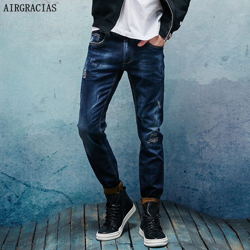 AIRGRACIAS Brand Men Jeans Dark Blue Denim Elasticity Jeans Mens Pants Biker Jeans Men Stretch Ripped Jean M Long Trousers airgracias elasticity jeans men high quality brand denim cotton biker jean regular fit pants trousers size 28 42 black blue