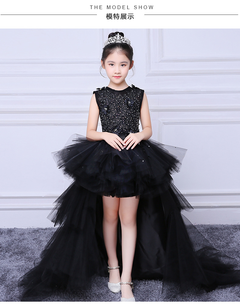 f6bea1db33e52 Girl Evening Black Dress Model Walk Show Princess Dress Children Drag Tail  Wedding Dress Piano Performance Dress Flower Boy Host