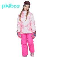 Зимний костюм Phibee для девочек, детская одежда, теплый непромокаемый ветрозащитный костюм для сноуборда, зимняя куртка, детская одежда