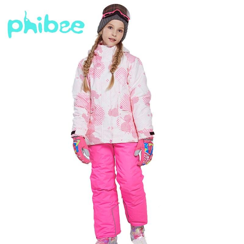 Phibee costume d'hiver pour fille enfants clofairy ki costume chaud imperméable à l'eau coupe-vent Snowboard ensembles veste d'hiver enfants vêtements