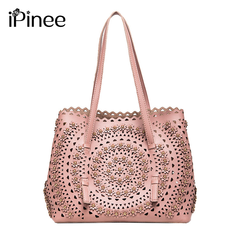 Fashion Three-dimensional Flower Rivet Child And Mother Package 2018 Tide Xia Hollow Out Hand Bill Of Lading Package Messenger embroidery basis book 500 kinds of three dimensional embroidery patterns