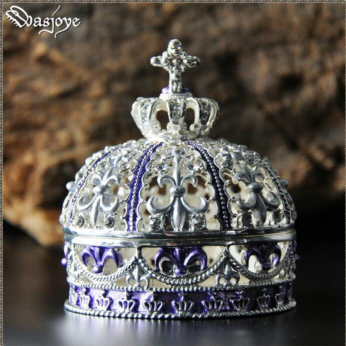 European retro crown metal jewelry box ring box storage boxes Wedding accessories gift box for wedding decoration Z038