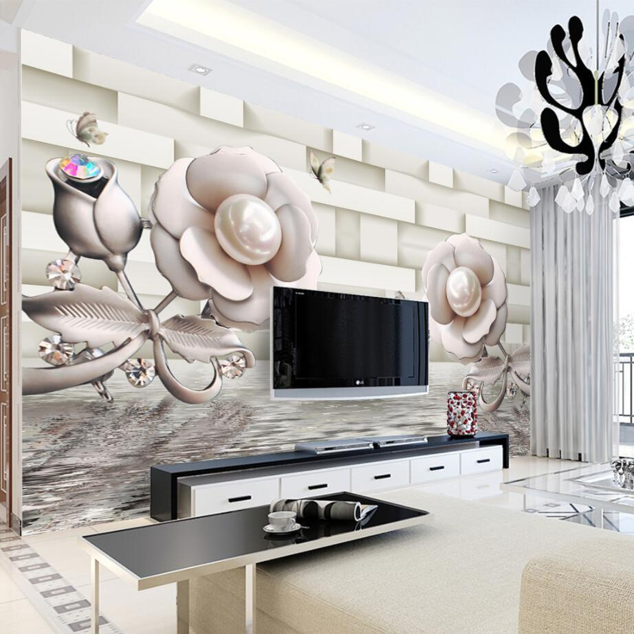 beibehang Custom wallpaper 3d stereo roses water reflection television background wall living room bedroom mural 3d wallpaper