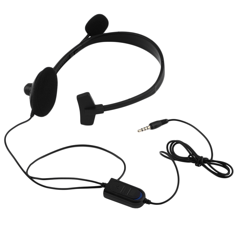 New Professional 1 Ear Mini Wired Headphone Headset Earphone Earbud For Playstation Video Game PS4 With VOL With Microphone