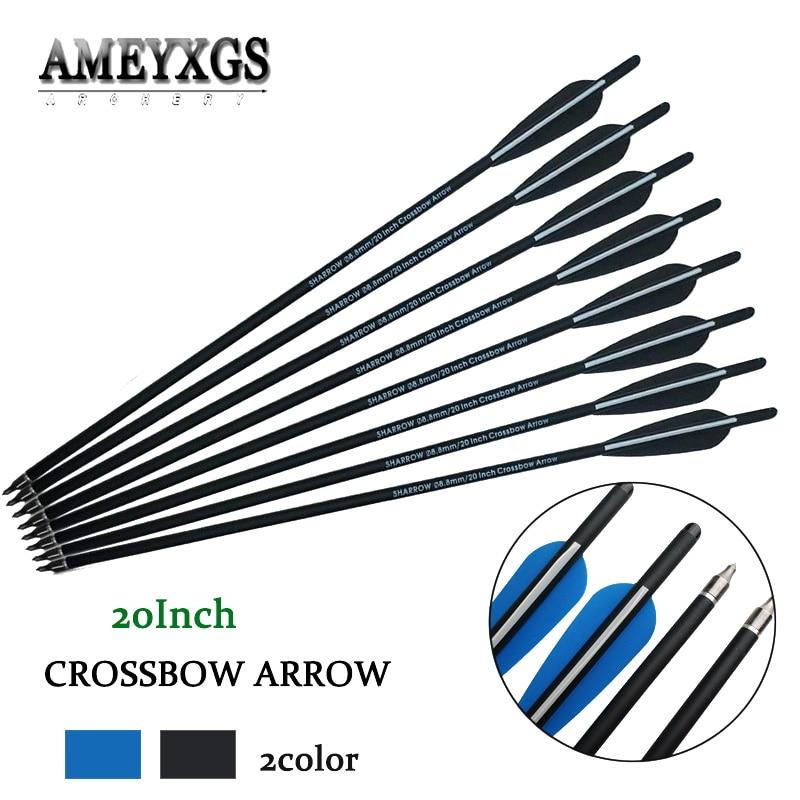 "US 12PCS 8.8mm Crossbow 20/"" Carbon Arrow Archery Shooting Hunting bow Broadheads"