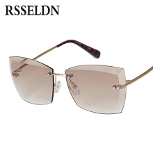 3950bf252c RSSELDN New Oversize Rimless Sunglasses Women Brand Designer Cutting Edge  Lens Fashion Gradient Sun glasses Lady