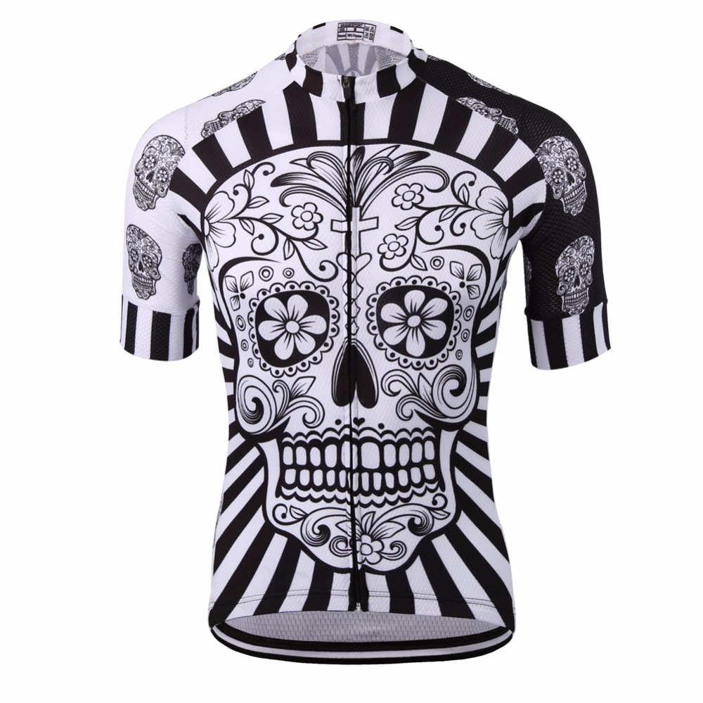 White skull sublimation printing cycling jersey wear best 2017 pro polyester cycling clothing summer men quick dry bicycle wear