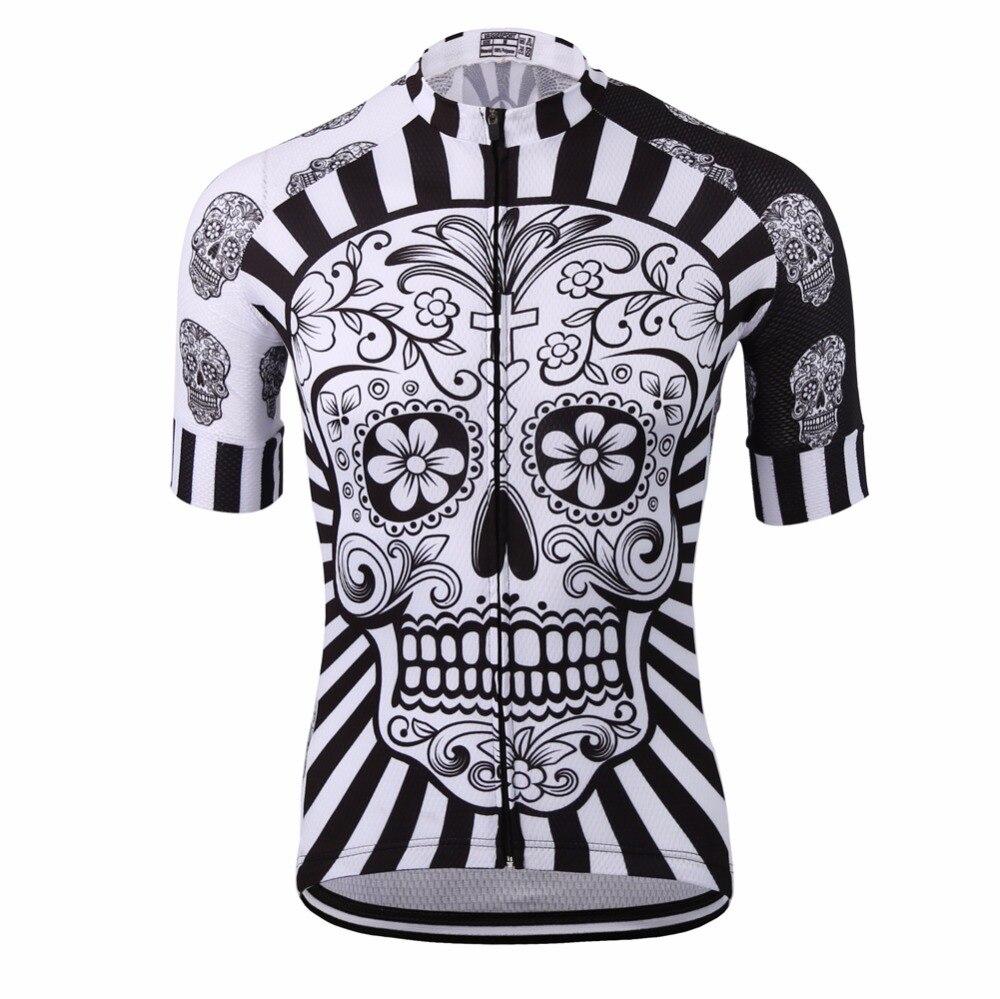 Bianco del cranio di stampa di sublimazione jersey di riciclaggio di usura/migliore 2017 pro poliestere abbigliamento ciclismo/estate degli uomini quick dry bicicletta usura